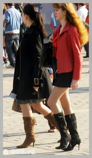 two high heels girls on the street