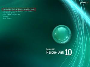 membersihkan virus menggunakan Kaspersky rescue disk