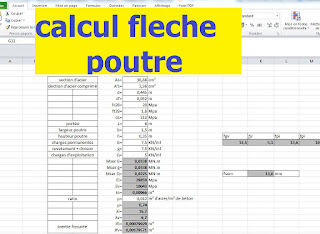 calcul fl che poutre avec excel cours g nie civil. Black Bedroom Furniture Sets. Home Design Ideas