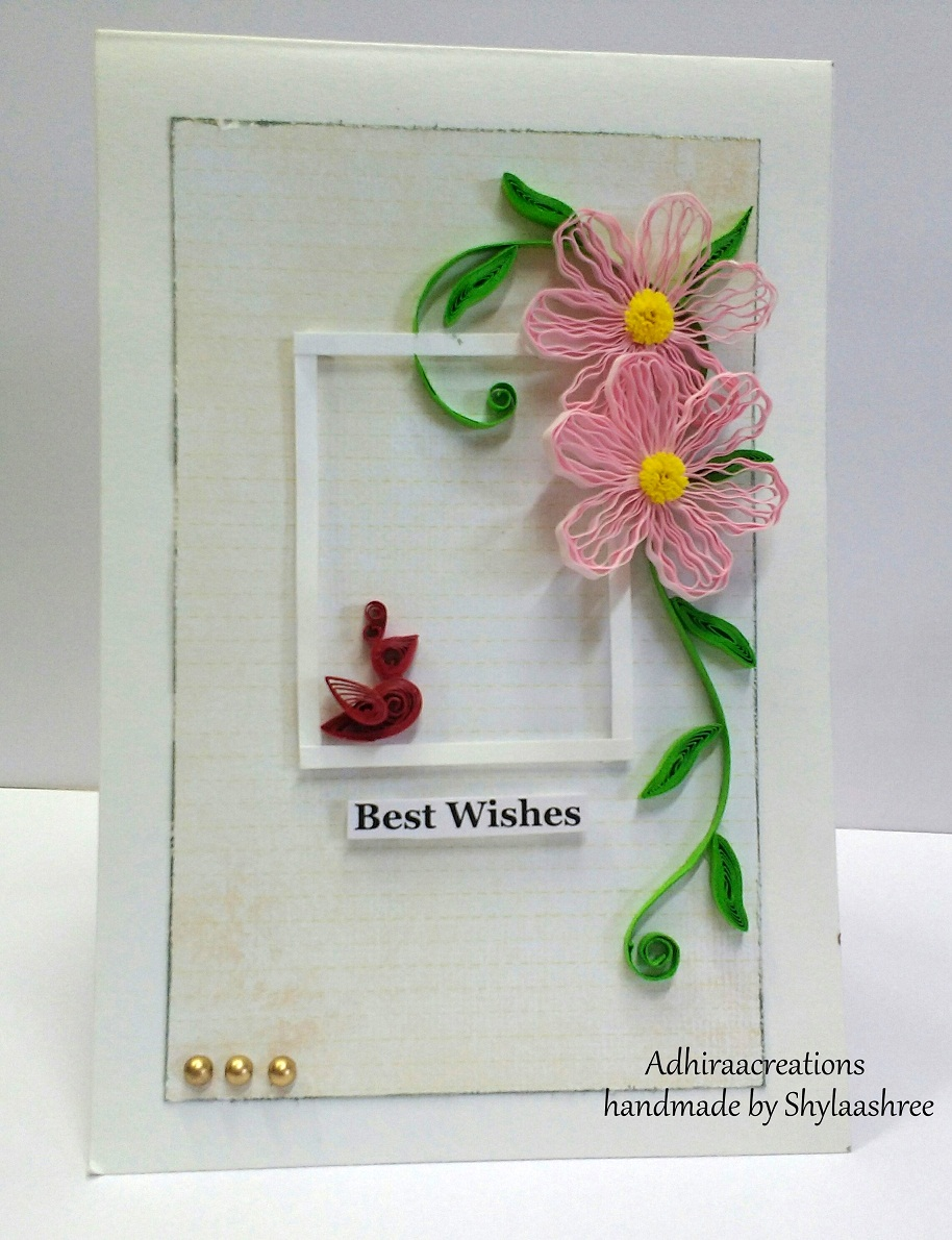Adhiraacreations best wishes card wishes card for my friends house warming ceremony who is looking forward for new life in their new home quilled flowers and quilled bird on the window m4hsunfo