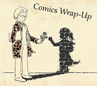 comics wrap-up title image with manga-style woman handing a flower to her girl-like shadow