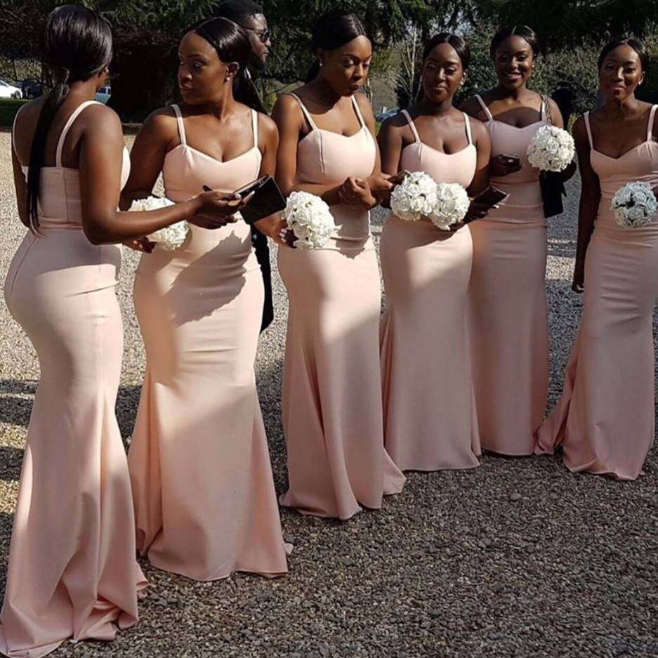 Simple Pink Mermaid Bridesmaid Dresses | Spaghettis Straps Mermaid Maid of the Honor Dress