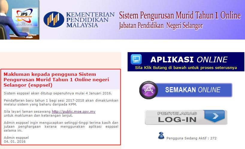 Pendaftaran Murid Tahun Satu Negeri Selangor Dan Putrajaya Ambilan Tahun 2017 2018 Ciklaili
