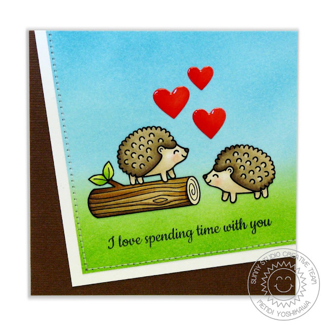 Sunny Studio Stamps: Woodsy Creatures Hedgehog Card by Mendi Yoshikawa