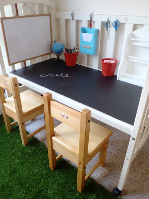 how to turn a crib into a desk