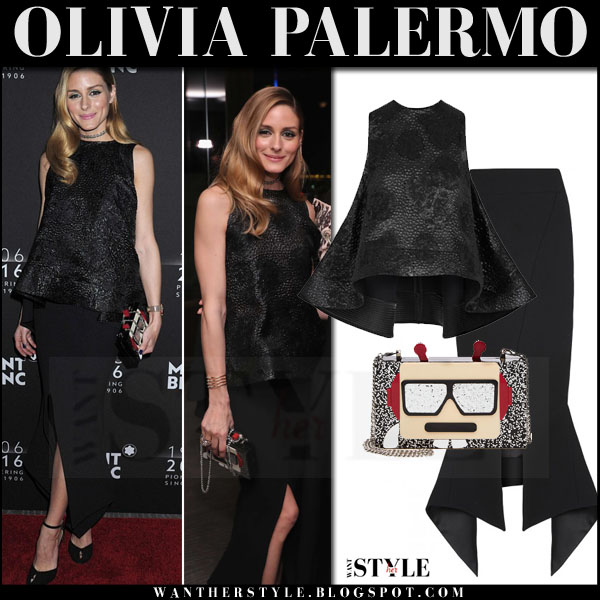 Olivia Palermo in black sleeveless top and black maxi skirt toni maticevski what she wore red carpet