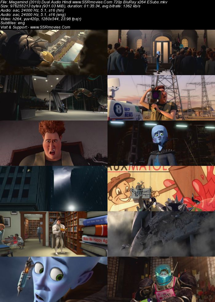 Megamind (2010) Dual Audio Hindi 480p BluRay x264 300MB ESubs Movie Download