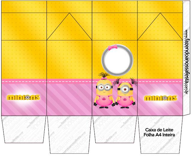 "Caja tipo ""de leche"" de Minions Chicas."