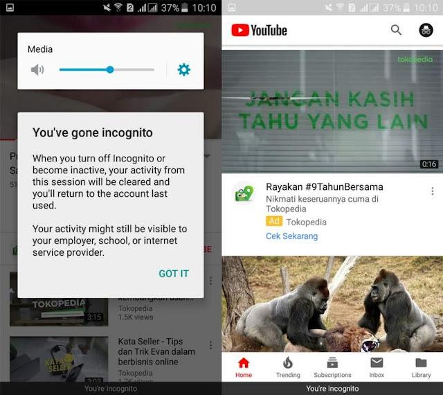 Cara Mengaktifkan Mode Incognito di Aplikasi YouTube Tutorial Mengaktifkan Mode Incognito YouTube di Android