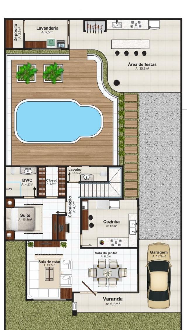 Plano de casa de 178 m2 planos de casas gratis y for Plano alberca
