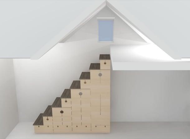 Marzua mueble escalera para casas peque as - Muebles plegables para viviendas pequenas ...
