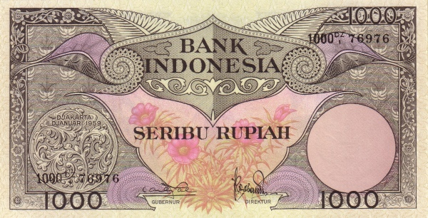 1000 rupiah 1960 depan