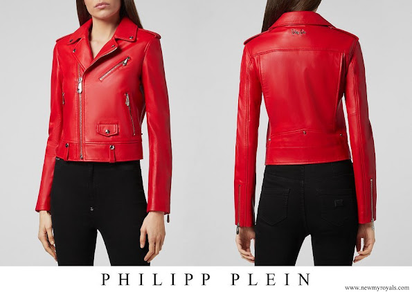 Princess Charlene wore Philipp Plein leather biker full color yellow jacket