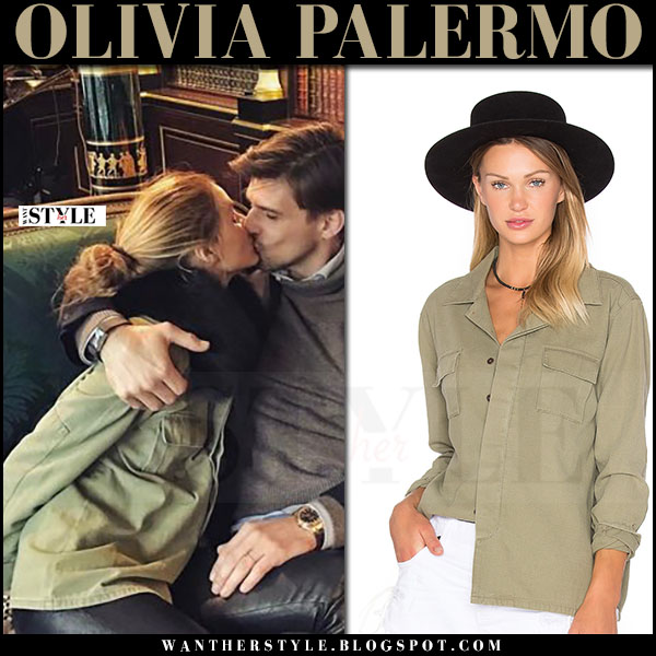 Olivia Palermo in khaki green shirt one teaspoon and black pants kissing Johannes Huebl what she wore instagram