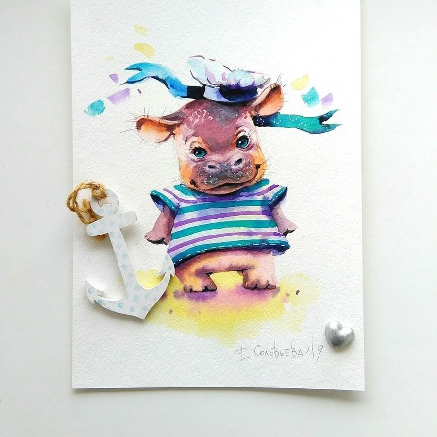 10-Hippo-Sailor-Evgeniya-Solovyova-Fantasy-Animals-Watercolor-Paintings-www-designstack-co