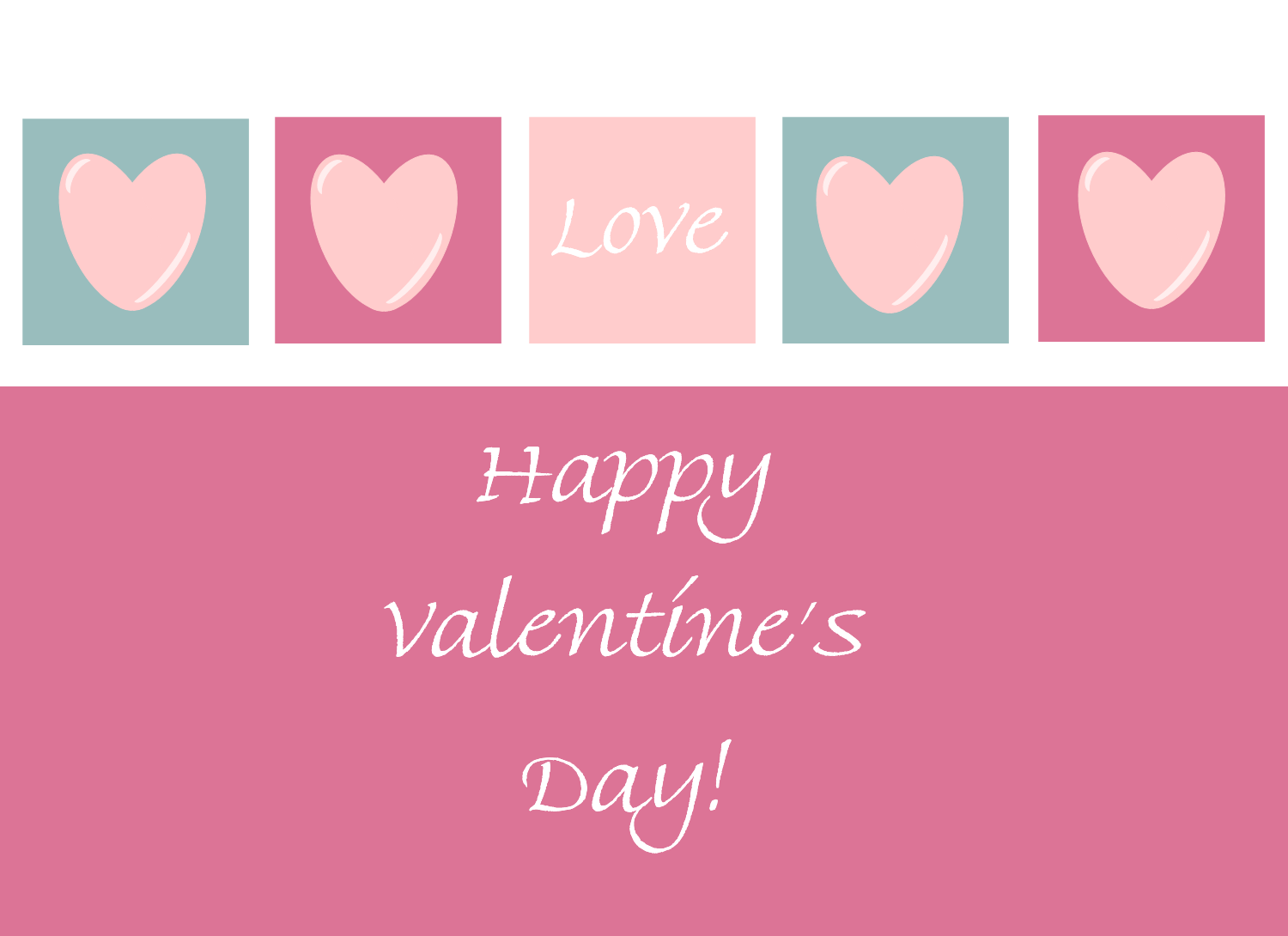 valentine clip art card front features happy valentines day greeting pink hearts and the word love in a light pink square  [ 1500 x 1090 Pixel ]
