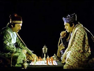 Sanjeev Kumar as Mirza Sajjad Ali and Saeed Jaffrey as Mir Roshan Ali in Shatranj Ke Khilari, directed by Satyajit Ray