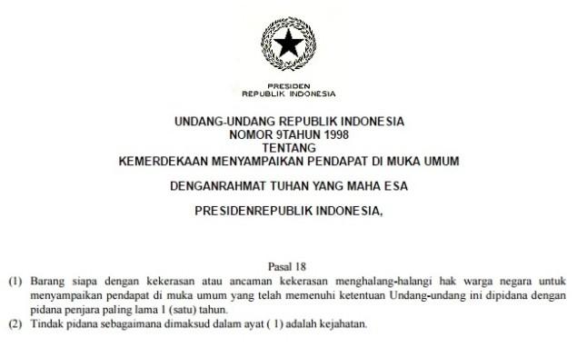 UU No.9 1998: Menghalangi Hak Warga Menyampaikan Pendapat di Muka Umum Adalah Tindakan Pidana