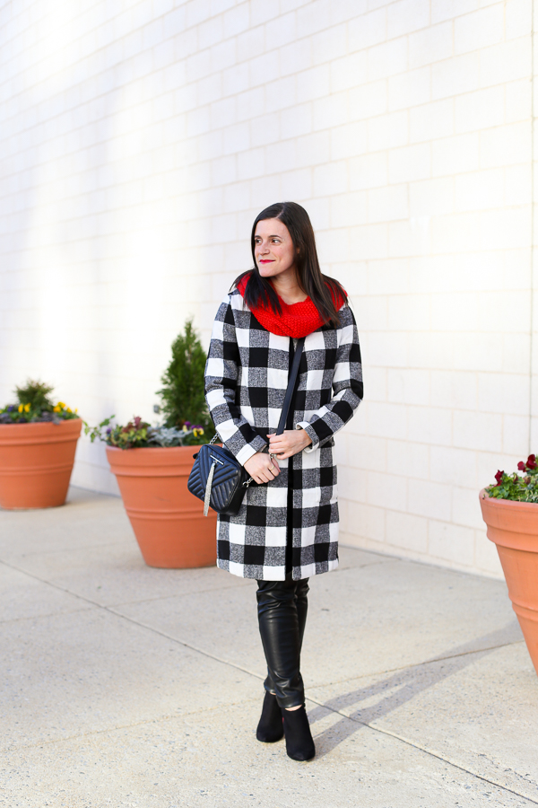 Naturally Me, Holiday Outfit Idea, How to Wear A Plaid Coat for the Holidays, Black and White Outfit With Pops of Red, How to Wear A Snood in the Fall