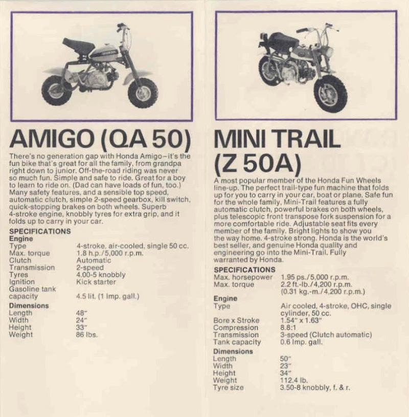 Here Are Some Basic Parisons Between These Two Minitrailbikes Both Engines Have Automatic Clutch At First Glance The Qa50 Amigo Looks A Bit More: Honda Qa50 Wiring Diagram At Jornalmilenio.com