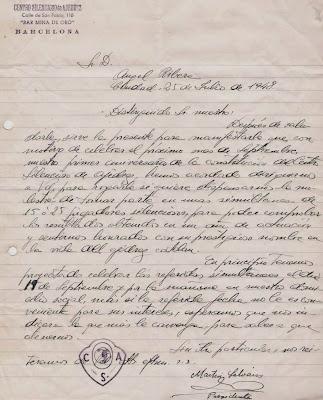 Carta del Centro Silencioso de Ajedrez en 1948