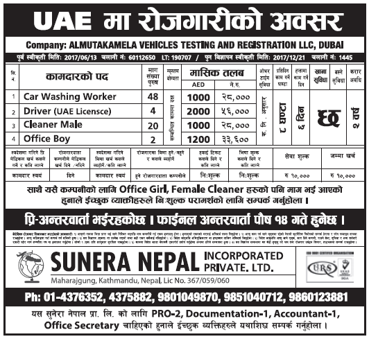Jobs in UAE for Nepali, Salary Rs 56,000