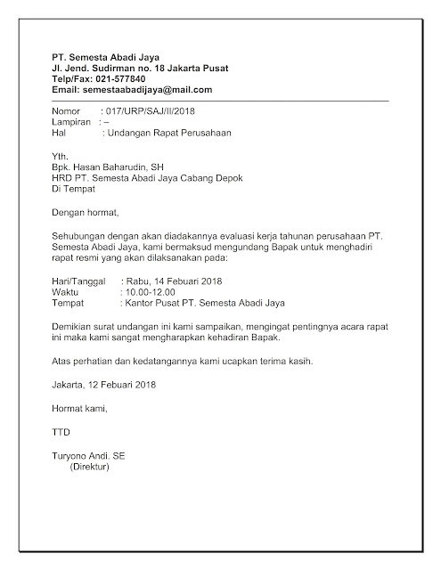 Sisurat 5 Contoh Surat Undangan Rapat Perusahaan Pt Osis