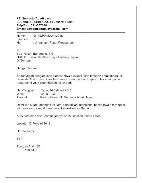 Sisurat 5 Contoh Surat Undangan Rapat Perusahaan Pt Osis Wali
