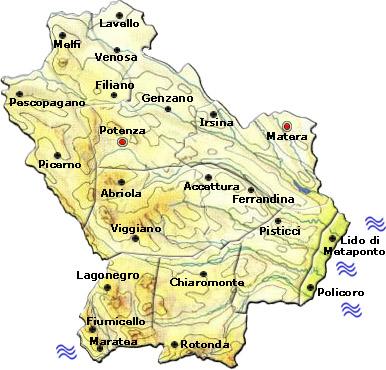 Cartina Basilicata.Mappa Della Citta Di Provincia Regionale Italia Cartina Politica Della Basilicata
