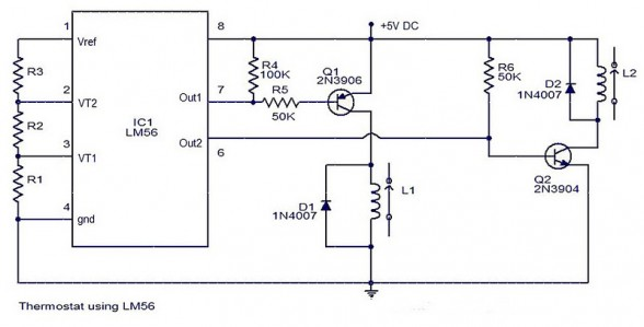 thermostat circuit with ic lm56 electronic circuit rh elcircuit com Thermostat Heater Control Circuit Open Thermostat Relay Circuit