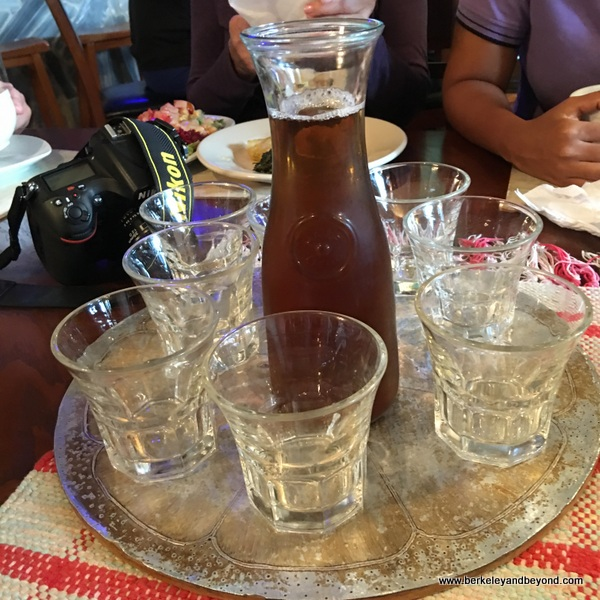 mauby tonic drink at Coloz restaurant in Port of Spain, Trinidad