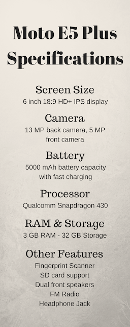 Moto E5 Plus specifications