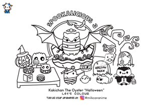 Kakichan Spookalicious 3 Colouring Sheet