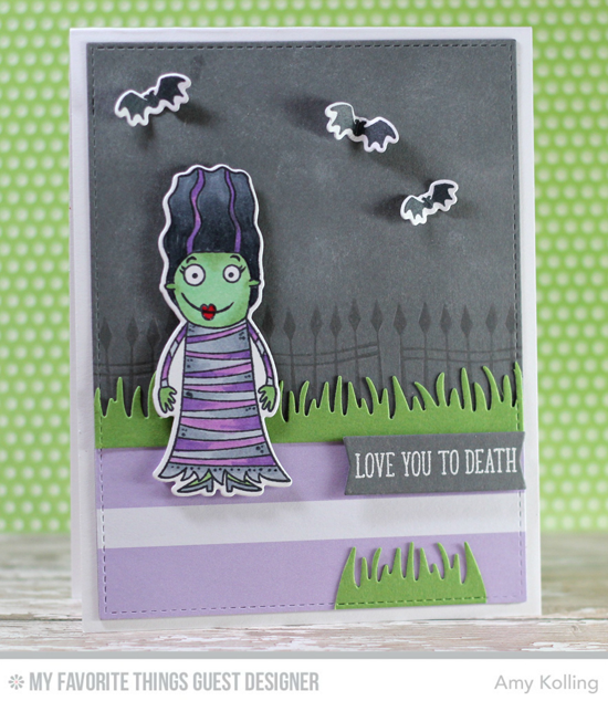 Handmade card from Amy Kolling featuring Frightful Friends stamp set and Die-namics, Grassy Edges and Blueprints 13 Die-namics #mftstamps