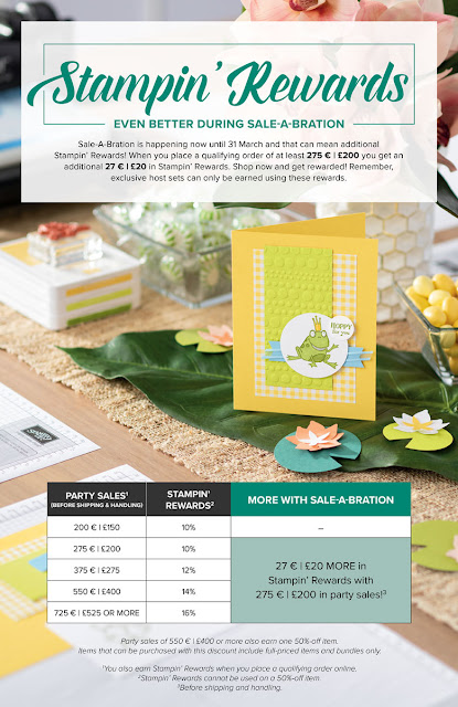 Poster showing the current Stampin' Rewards offer by Stampin' Up! for Sale-A-Bration 2019