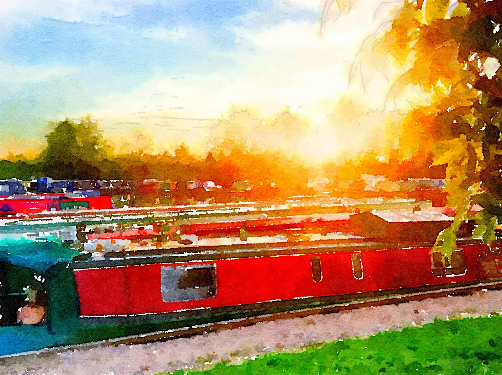 A watercolour of Hannah tha Narrowboat