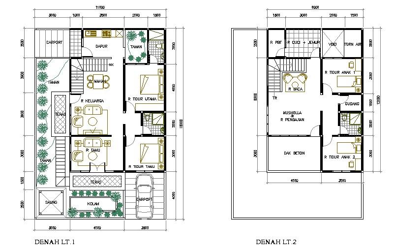 contoh gambar denah rumah btn asri 1