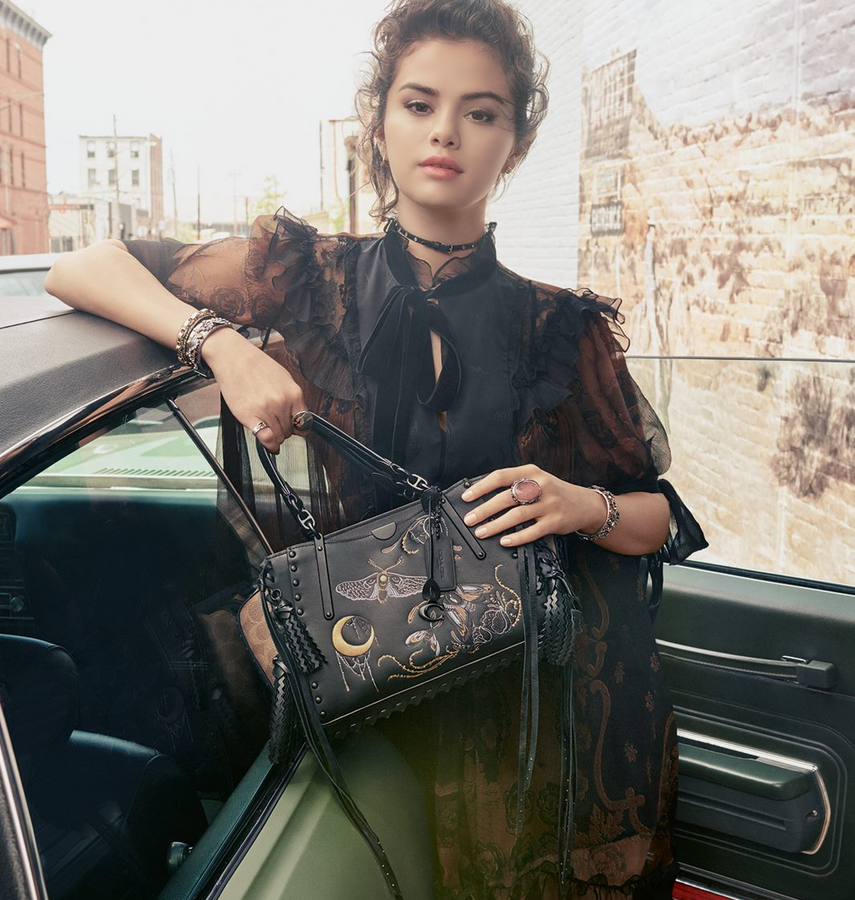 Selena Gomez for Coach with Dreamer In Signature Canvas With Tattoo Bag