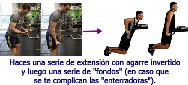 Biserie extensión de triceps con agarre invertido y fondos