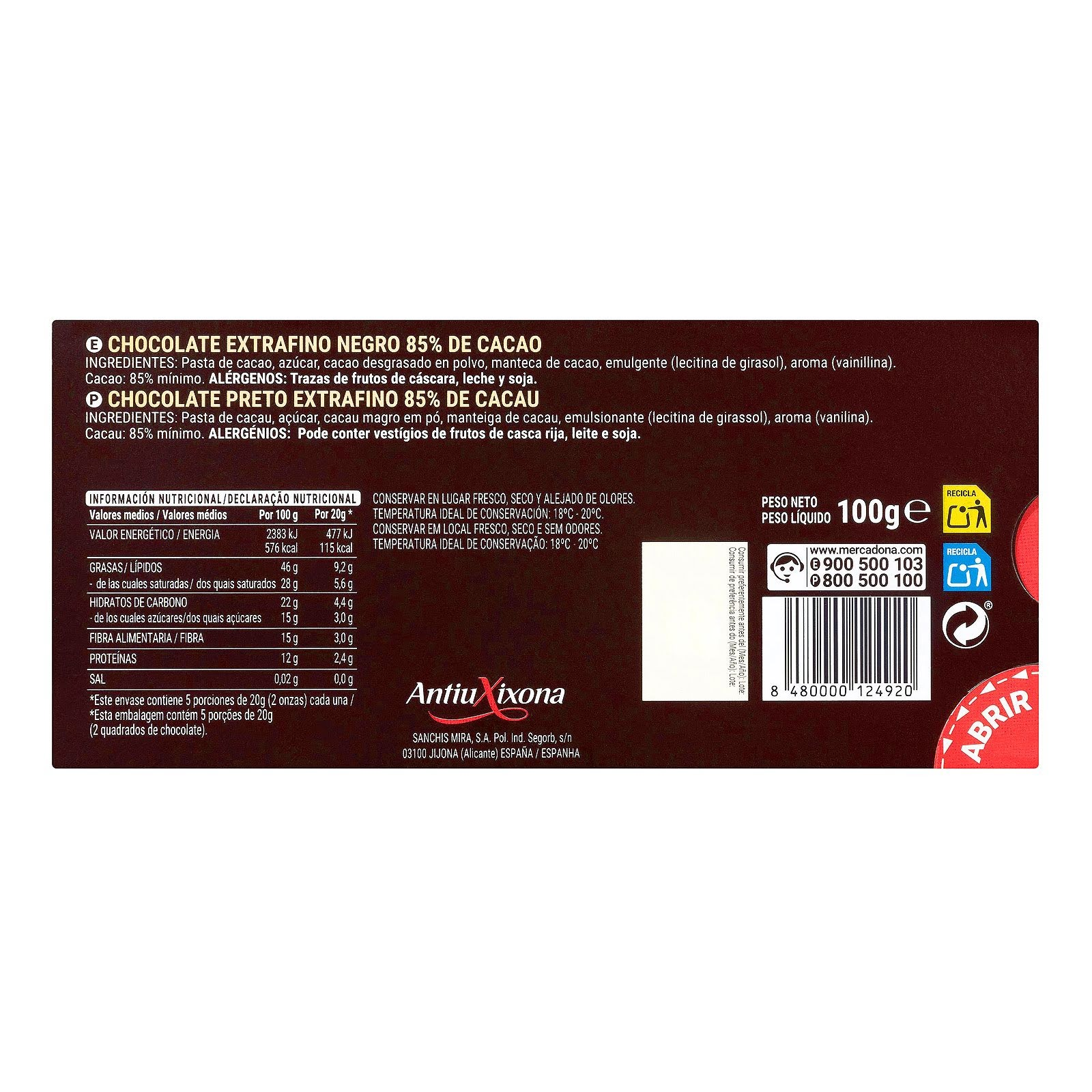 Chocolate negro extrafino 85% de cacao Hacendado