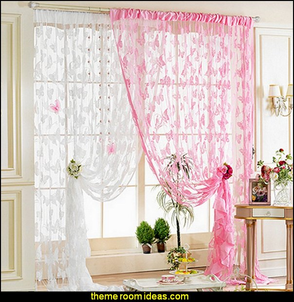 Butterfly Pattern Tassel String Door Curtain Window Room Curtain Divider Scarf Pink