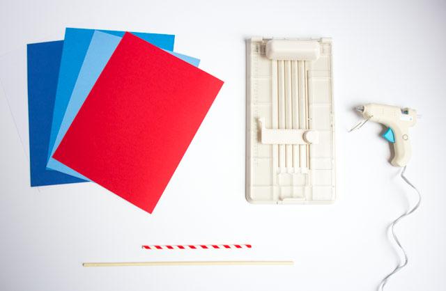 Supplies for DIY paper fireworks centerpiece