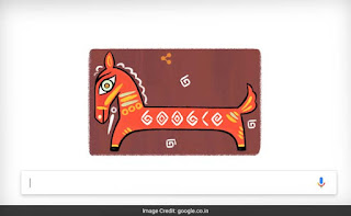 The Google doodle today, 11th Apr, 2017, celebrates the 130th birth anniversary of Jamini Roy, with an image inspired by his Black Horse painting. Art Scene India