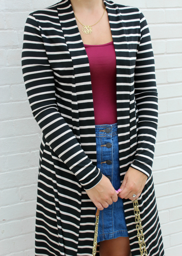 sweet p and fi, striped cardigan, duster cardigan