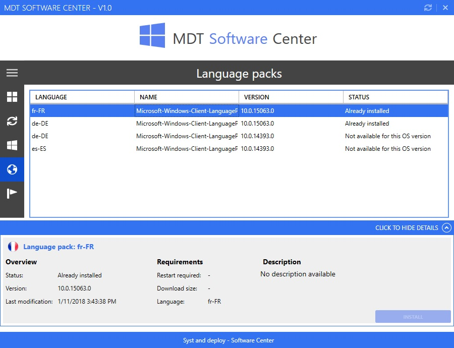 Powershell tool: Software Center for MDT - Syst & Deploy