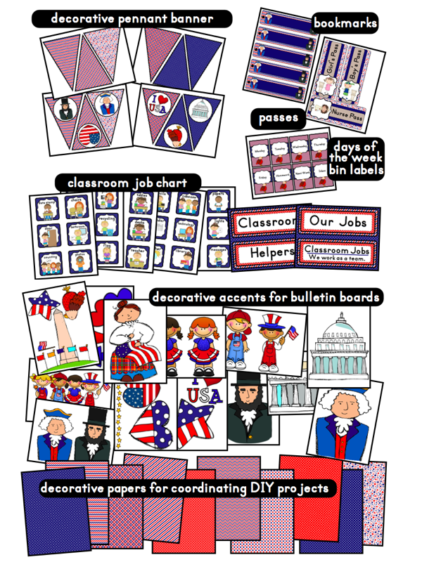 click to access and download patriotic theme printables