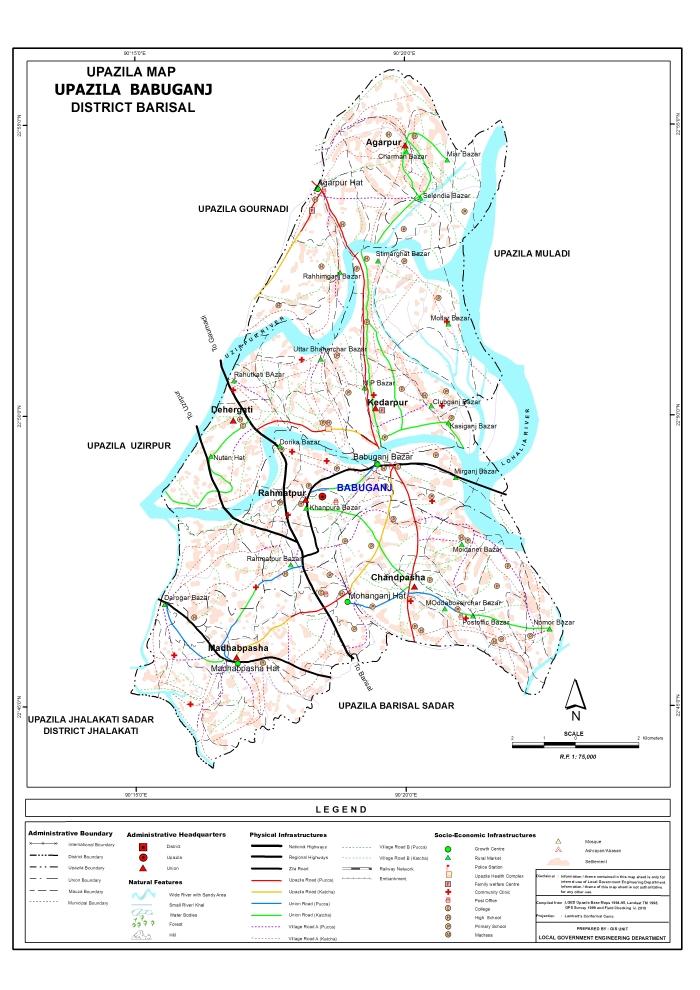Babuganj Upazila Map Barisal District Bangladesh