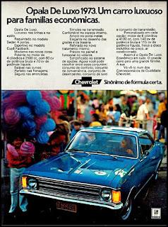 propaganda 1972 - Opala De Luxo-73, Chevrolet década de 70, anos 70, GM, Oswaldo Hernandez, carros antigos,