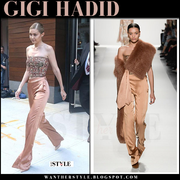 Gigi Hadid in bandeau top and beige silk trousers jonathan simkhai what she wore june 27 2017