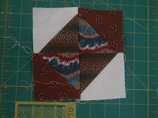 Hourglass patchwork block (broken plated variation) for reproduction 1850s quilt.